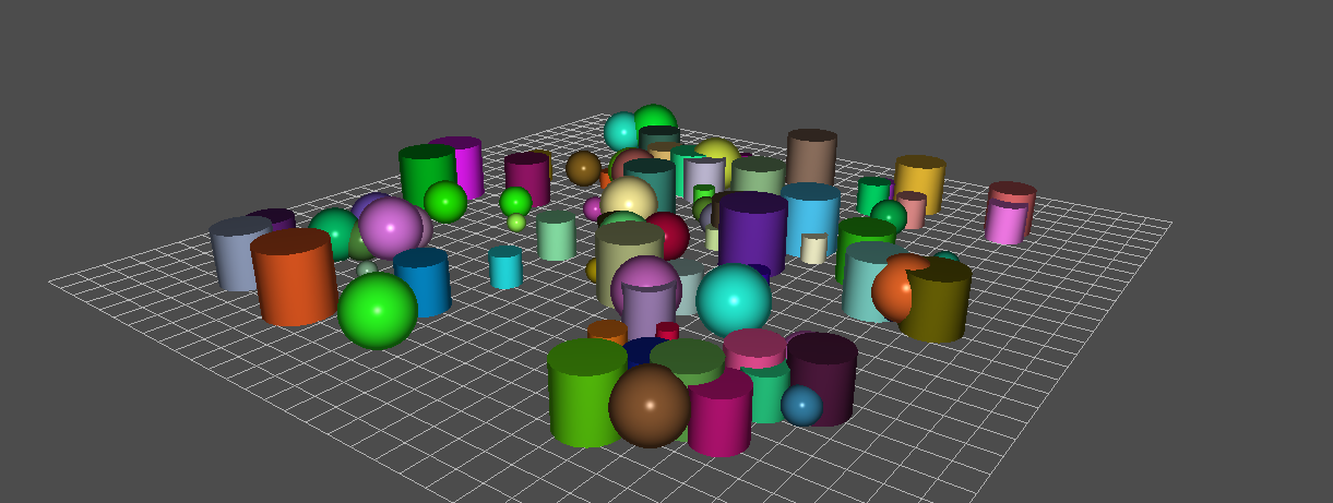 In this scene we have only loaded 2 models: a sphere and a cylinder. The loading time, bandwith and memory consuption is kept to the minimum.