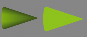 shaded cone (left), unshaded cone(right)