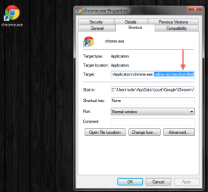 Creating a shortcut to launch Chrome with local file access enabled